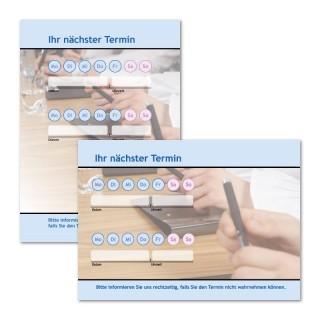 Terminzettel: Business Blau mit Logo als Terminblock A7, 50 Blatt (ab 50 Stück)