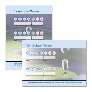 Terminzettel:Tropfen Blau mit Logo als Terminblock A7, 50 Blatt (ab 50 Stück)