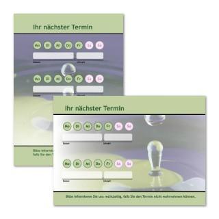 Terminzettel: Tropfen Grün mit Logo als Terminblock A7, 50 Blatt (ab 50 Stück)