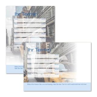 Terminzettel 4 Zeilen für Taxi mit Logo als Terminblock A7, 50 Blatt (ab 50 Stück)