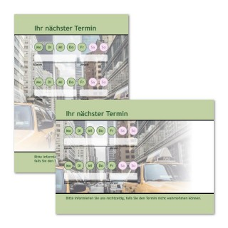 Terminzettel Taxi Grün mit Logo als Terminblock A7, 50 Blatt (ab 50 Stück)