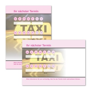 Terminzettel Taxi Pink mit Logo als Terminblock A7, 50 Blatt (ab 50 Stück)