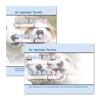 Terminzettel Hund mit Logo als Terminblock A7, 50 Blatt (ab 50 Stück)