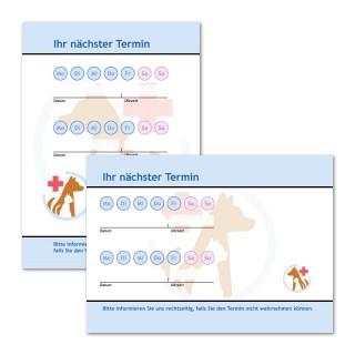 Terminzettel mit Tieren und Logo als Terminblock A7, 50 Blatt (ab 50 Stück)