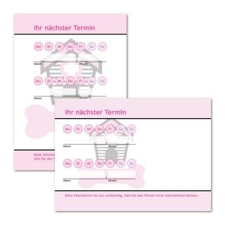 Terminzettel Hundehütte mit Logo als Terminblock A7, 50 Blatt (ab 50 Stück)