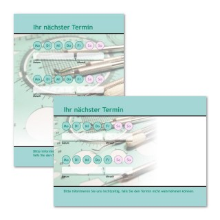 Terminzettel: Zahnarztbesteck als Terminblock A7, 50 Blatt (ab 50 Stück)