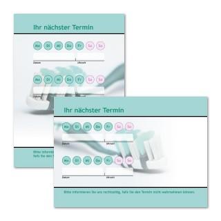Terminzettel: Zahnbürste als Terminblock A7, 50 Blatt (ab 50 Stück)