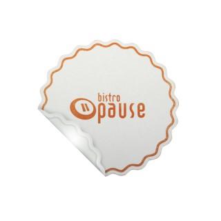 Wellenrand Tissue Untersetzer als Tassendeckchen mit PE-Beschichtung an der Unterseite bedrucken