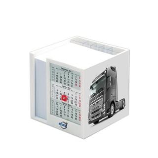 Zettelbox mit Drei-Monats-Kalender als seitlichen Einschub bedrucken als Werbeartikel