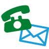 Telefon und Briefumschlag als Kontaktmöglichkeiten