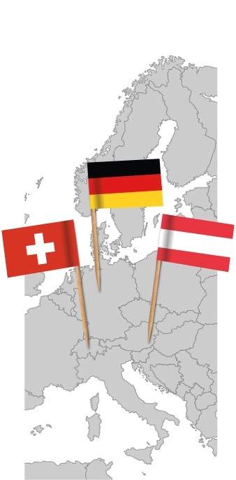 Europakarte mit Flaggenpickern Deutschland, Schweiz, Österreich