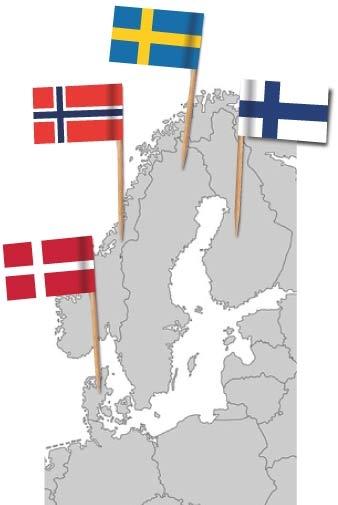 Europakarte mit Flaggenpickern Schweden, Finnland, Norwegen und Dänemark