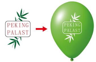 Bild von Logo mehrfarbig, Logo auf Luftballon einfarbig